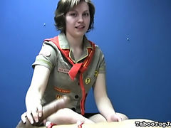 Katy, your favorite cock jerking Girl Scout, is at it again. She's working on her next badge. She has to tie a guy down and make him cum all over himself.